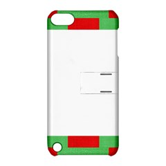 Fabric Christmas Red White Green Apple Ipod Touch 5 Hardshell Case With Stand