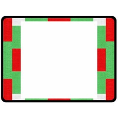 Fabric Christmas Red White Green Double Sided Fleece Blanket (large)