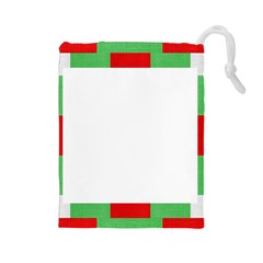 Fabric Christmas Red White Green Drawstring Pouches (large)