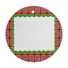 Frame Pattern Christmas Frame Ornament (round)