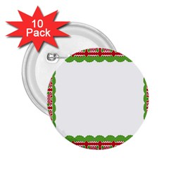 Frame Pattern Christmas Frame 2 25  Buttons (10 Pack)