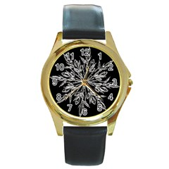 Ice Crystal Ice Form Frost Fabric Round Gold Metal Watch