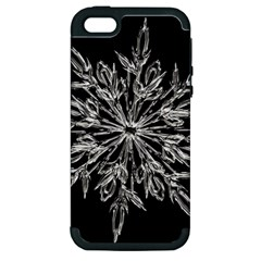 Ice Crystal Ice Form Frost Fabric Apple Iphone 5 Hardshell Case (pc+silicone)