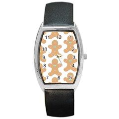 Pattern Christmas Biscuits Pastries Barrel Style Metal Watch