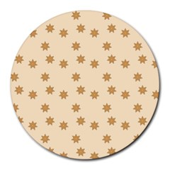 Pattern Gingerbread Star Round Mousepads