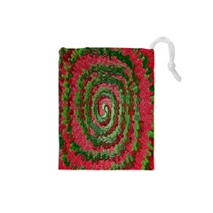 Red Green Swirl Twirl Colorful Drawstring Pouches (small)