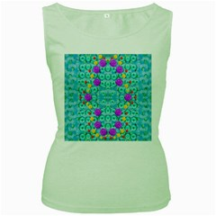 Season For Roses And Polka Dots Women s Green Tank Top
