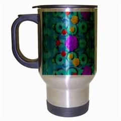 Season For Roses And Polka Dots Travel Mug (silver Gray)