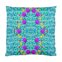 Season For Roses And Polka Dots Standard Cushion Case (two Sides)