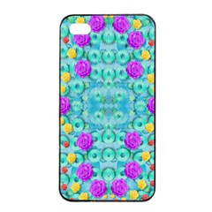 Season For Roses And Polka Dots Apple Iphone 4/4s Seamless Case (black)