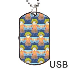 Seamless Repeat Repeating Pattern Dog Tag Usb Flash (two Sides)