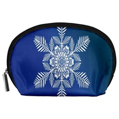 Snow Flake Crystal Snow Winter Ice Accessory Pouches (large)