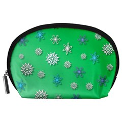 Snowflakes Winter Christmas Overlay Accessory Pouches (large)