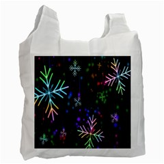 Snowflakes Snow Winter Christmas Recycle Bag (one Side)