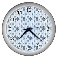 Snowflakes Winter Christmas Card Wall Clocks (silver)