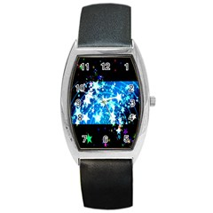 Star Abstract Background Pattern Barrel Style Metal Watch
