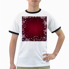 Star Background Christmas Red Ringer T Shirts