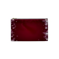 Star Background Christmas Red Cosmetic Bag (small)