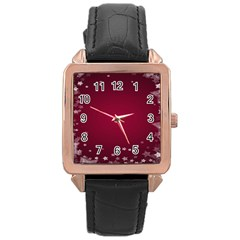 Star Background Christmas Red Rose Gold Leather Watch