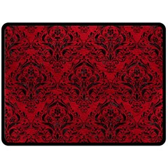 Damask1 Black Marble & Red Leather Double Sided Fleece Blanket (large)