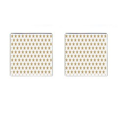 Star Background Gold White Cufflinks (square)