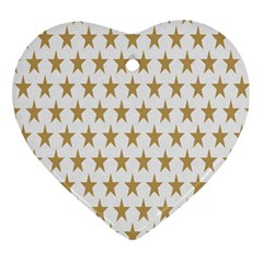 Star Background Gold White Heart Ornament (two Sides)