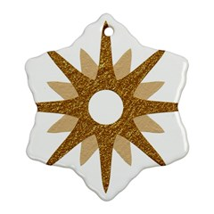 Star Golden Glittering Yellow Rays Snowflake Ornament (two Sides)