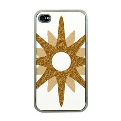 Star Golden Glittering Yellow Rays Apple Iphone 4 Case (clear)