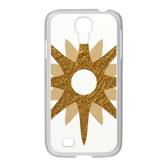 Star Golden Glittering Yellow Rays Samsung Galaxy S4 I9500/ I9505 Case (white)