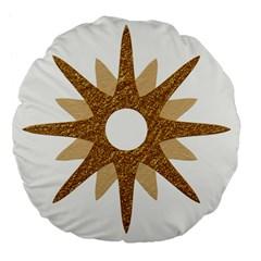 Star Golden Glittering Yellow Rays Large 18  Premium Flano Round Cushions