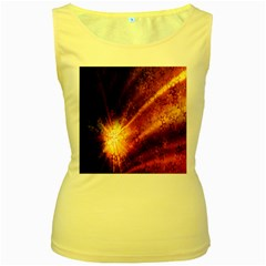 Star Sky Graphic Night Background Women s Yellow Tank Top