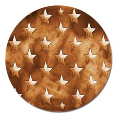Stars Brown Background Shiny Magnet 5  (round)