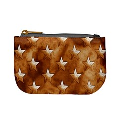 Stars Brown Background Shiny Mini Coin Purses