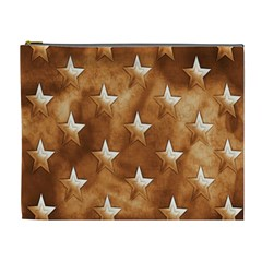 Stars Brown Background Shiny Cosmetic Bag (xl)