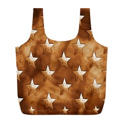 Stars Brown Background Shiny Full Print Recycle Bags (l)