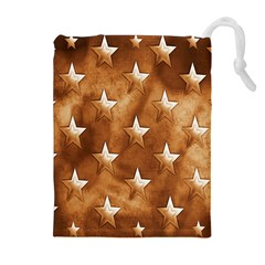 Stars Brown Background Shiny Drawstring Pouches (extra Large)