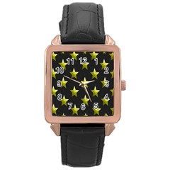 Stars Backgrounds Patterns Shapes Rose Gold Leather Watch