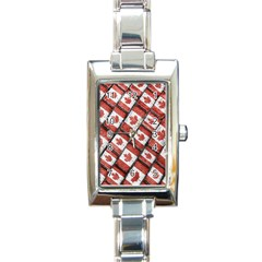 Canadian Flag Motif Pattern Rectangle Italian Charm Watch