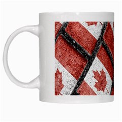 Canadian Flag Motif Pattern White Mugs