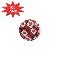 Canadian Flag Motif Pattern 1  Mini Magnets (100 Pack)