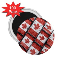 Canadian Flag Motif Pattern 2 25  Magnets (100 Pack)