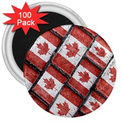 Canadian Flag Motif Pattern 3  Magnets (100 Pack)