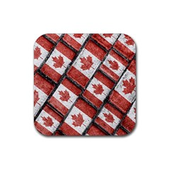 Canadian Flag Motif Pattern Rubber Coaster (square)
