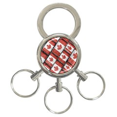 Canadian Flag Motif Pattern 3 Ring Key Chains
