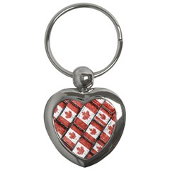 Canadian Flag Motif Pattern Key Chains (heart)