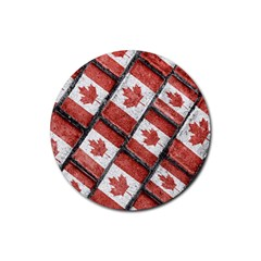 Canadian Flag Motif Pattern Rubber Round Coaster (4 Pack)