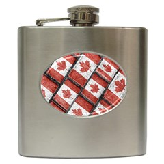 Canadian Flag Motif Pattern Hip Flask (6 Oz)