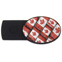 Canadian Flag Motif Pattern Usb Flash Drive Oval (2 Gb)