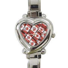 Canadian Flag Motif Pattern Heart Italian Charm Watch