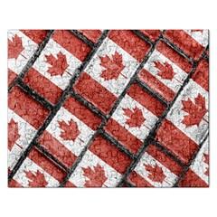 Canadian Flag Motif Pattern Rectangular Jigsaw Puzzl